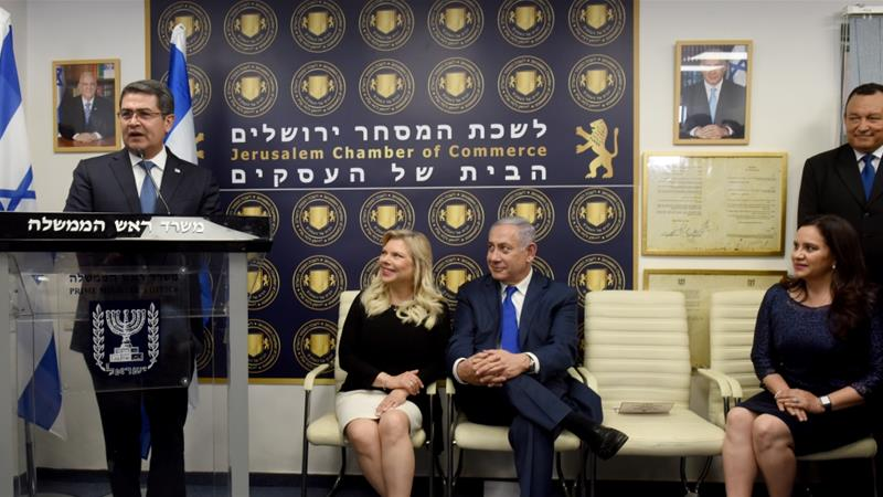 Hernandez opened a commercial office in Jerusalem in September 2019 as an extension of the Honduran embassy in Tel Aviv [File: Debbie Hill/Pool/Reuters]