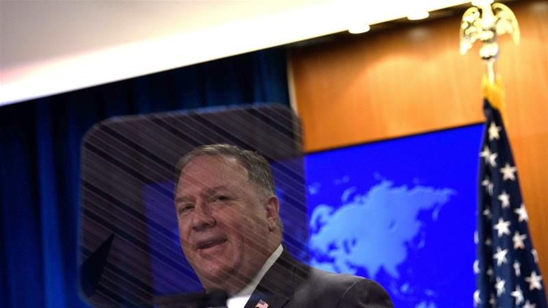 The sanctions 'reaffirm the United States's commitment to denying the Iranian regime the financial resources it needs to fuel terrorism and other destabilising activities', US Secretary of State Mike Pompeo said in a statement [File: Nicholas Kamm/Reuters]