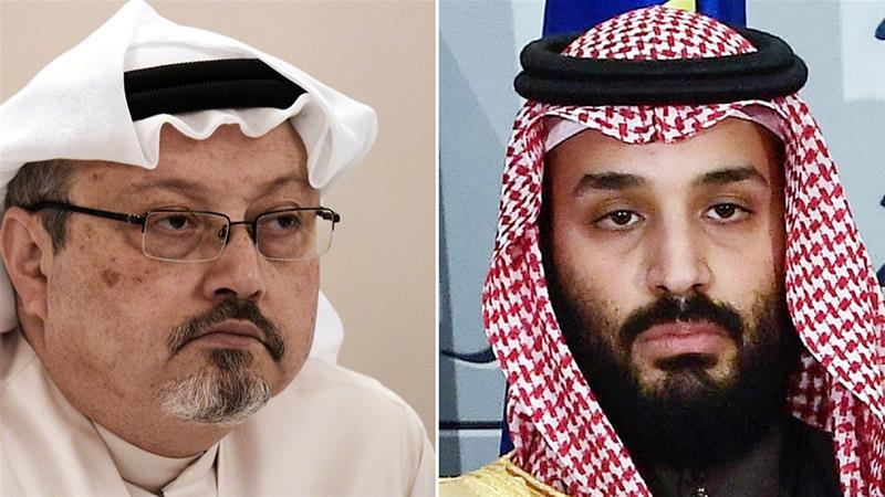 Crown Prince Mohammed bin Salman, right, has been linked to the killing of Khashoggi [Mohammed al-Shaikh and Oscar del Pozo/AFP]