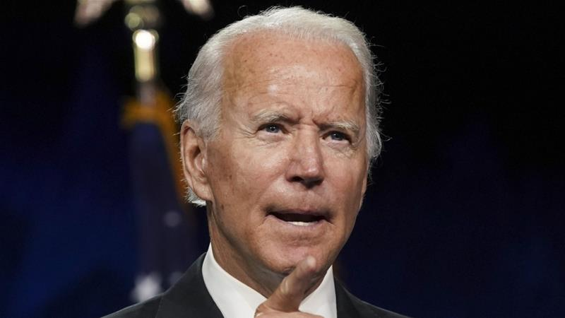 US Democratic presidential nominee Joe Biden is set to go on the offensive over what he sees as President Donald Trump's broken promises on improving US manufacturing and reducing offshoring [File: Stefani Reynolds/Bloomberg]