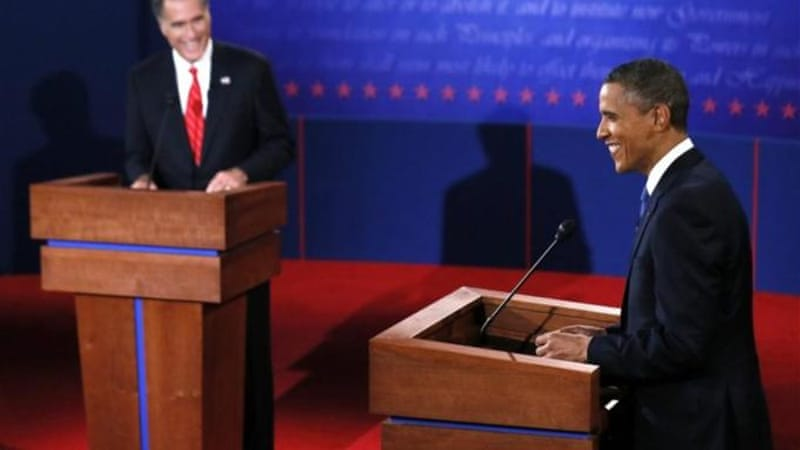 "Both Mitt Romney and Barack Obama failed to mention the word ""poverty"" during their debate on October 3 [EPA]"