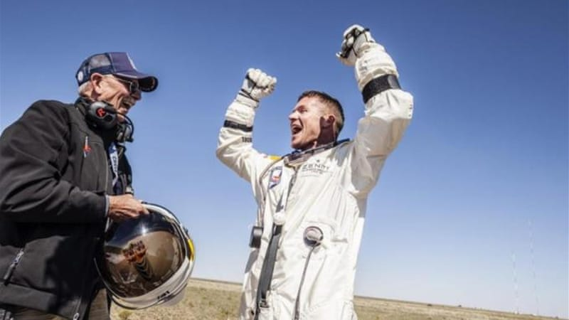 Skydiver Felix Baumgartner set a world record with his jump from more than 38km above sea level [EPA]
