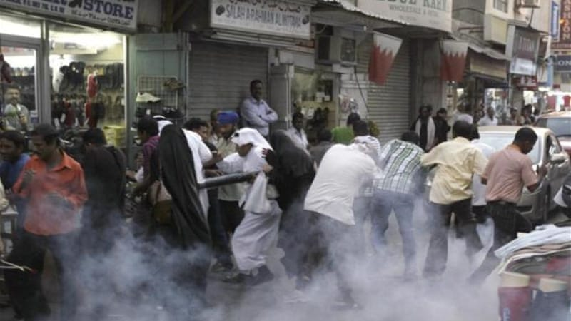 Heavy police presence and tear gas often prevent marches from getting started in the Gulf island kingdom [AP]