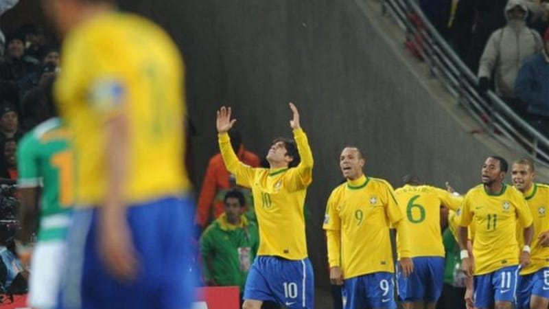 Madrid's Kaka (raised arms) has played a small role in Brazil side since the 2010 World Cup in South Africa [AFP]