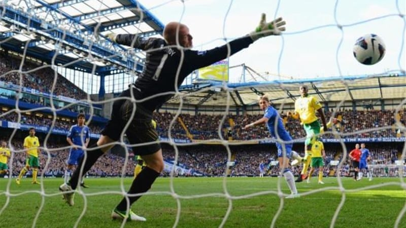 Fernando Torres opens the scoring for Chelsea as his side remain unbeaten in the Premier league [GETTY]
