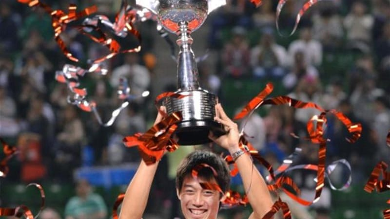Nishikori beat Milos Raonic of Canada 7-6, 3-6, 6-0 to win the Japan Open title on Sunday [AFP]