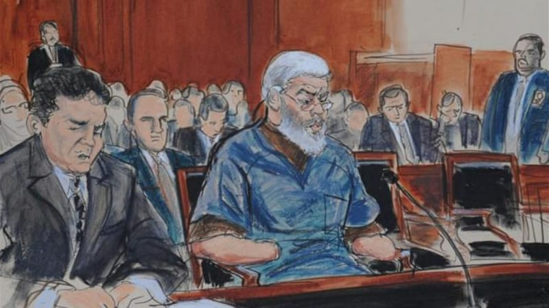 A courtroom drawing shows Abu Hamza al-Masri, centre, in Manhattan federal court on Tuesday [Reuters]