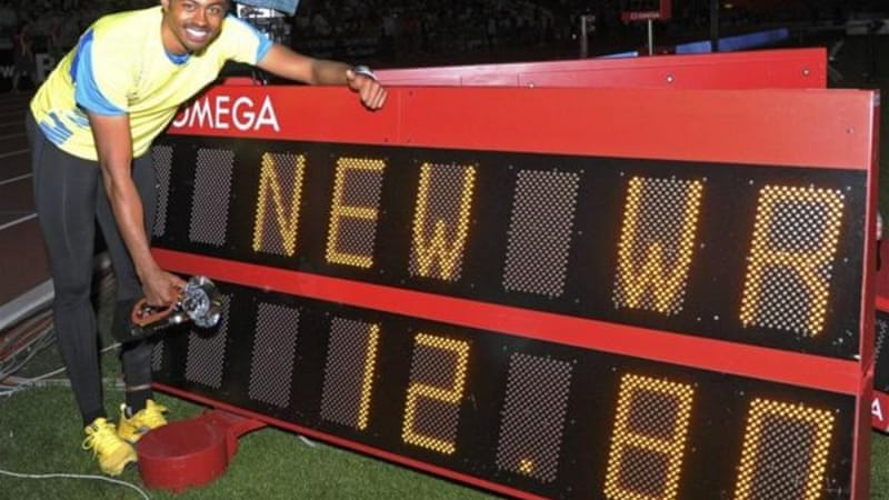 Merritt celebrates his world record at IAAF Diamond League athletics meeting in Brussels [Reuters]