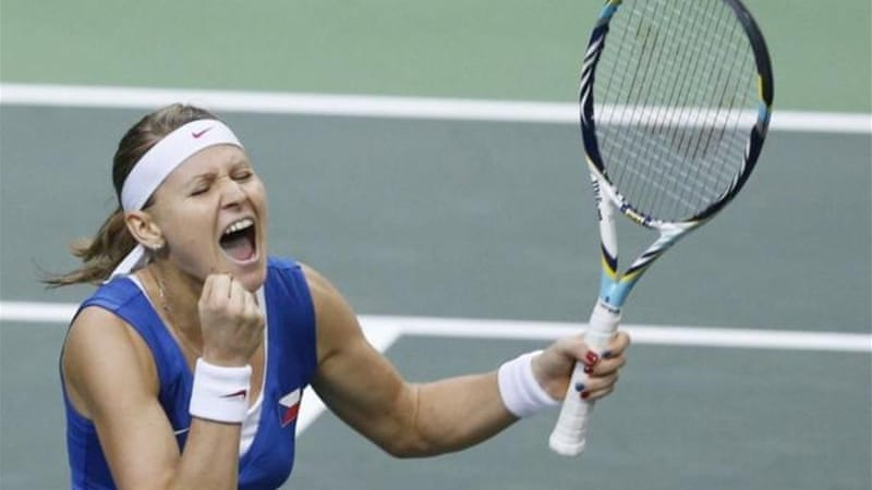Lucie Safarova enjoys winning first point for Czech Republic against Ana Ivanovic [AP]