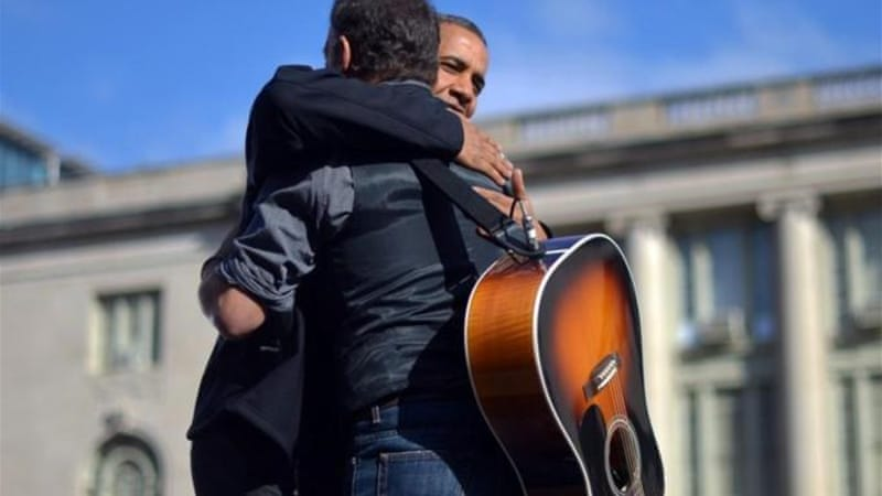 Bruce Springsteen performed at President Obama's campaign rally in Madison, Wisconsin, on November 5 [AFP]