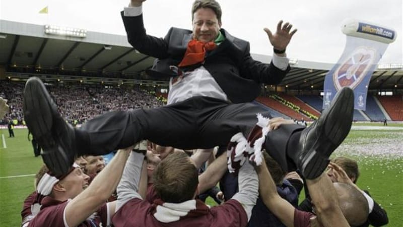 Hearts celebrate defeating Hibernian 5-1 in the Scottish Cup Final last season [GALLO/GETTY]