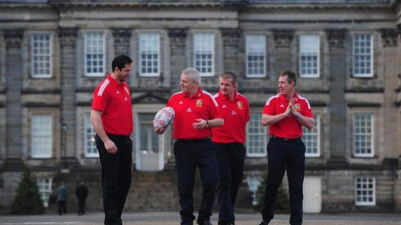 Head coach Warren Gatland (holding ball) with his new assistants outside Hopetoun house in Edinburgh, Scotland [GETTY]