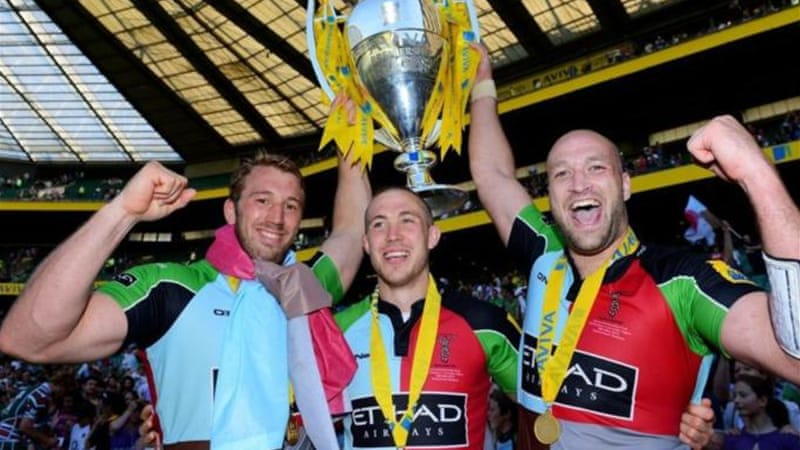 (L-R) Chris Robshaw, Mike Brown and George Robson celebrate with the trophy following historic win [GETTY]