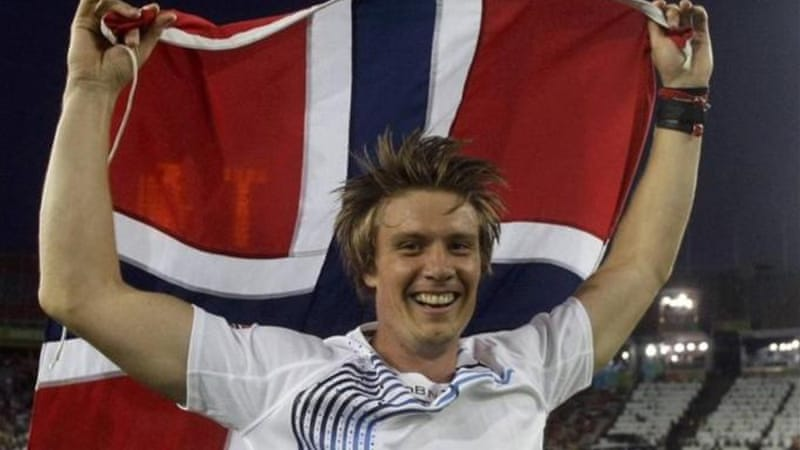 Thorkildsen celebrates winning men's javelin at the 2010 European Athletics Championships [Reuters]