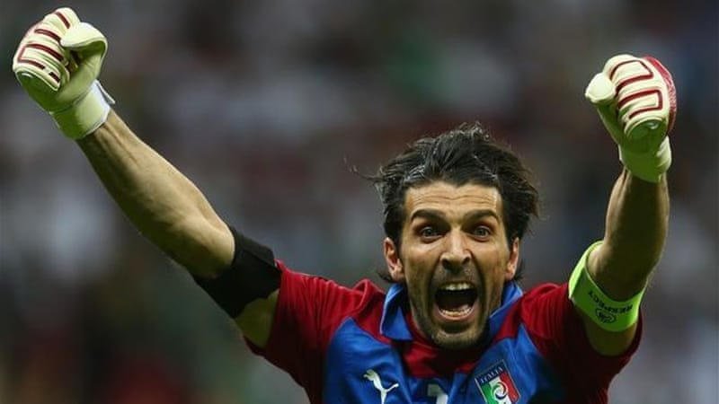 Italian goalkeeper Gianluigi Buffon shows what the victory means to him [Getty]