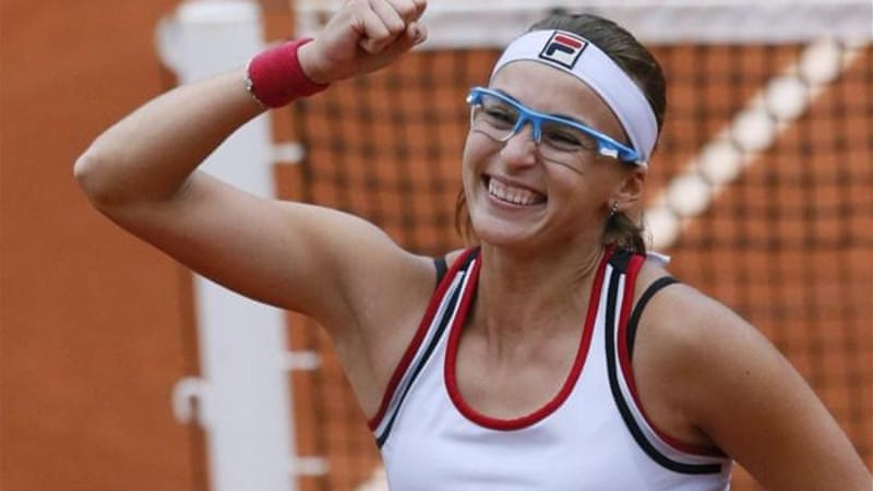 Kazakhstan's Shvedova celebrates defeating reigning French Open champion Li Na [AFP]