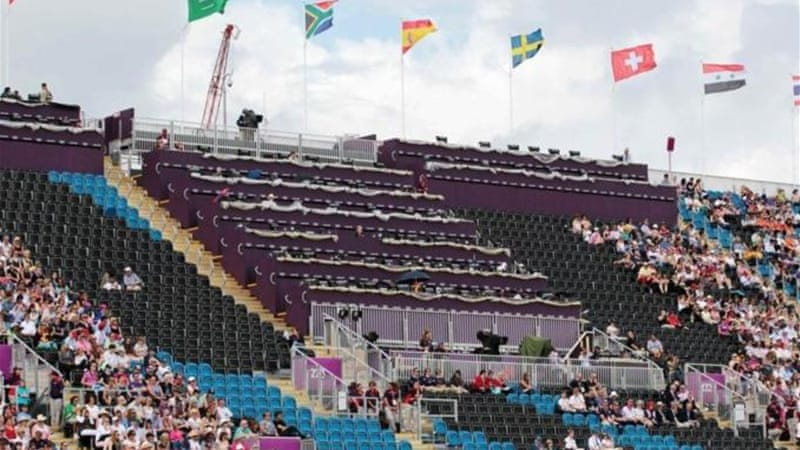 Empty seats reserved for VIPs and athletes at Eventing Individual Dressage in Greenwich Park [Reuters]