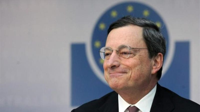 President of the European Central Bank, Mario Draghi, speaks at an ECB press conference in Frankfurt [EPA]