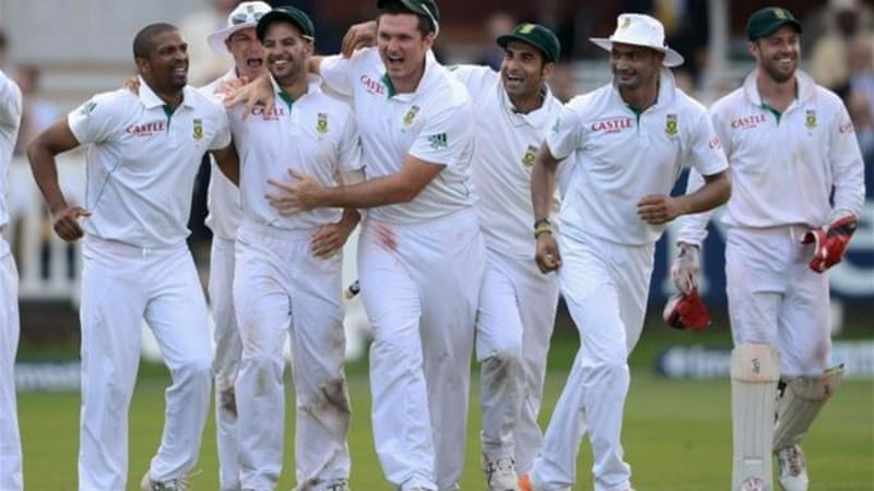 South Africa celebrate becoming the top Test team after victory in third and final match [GETTY]