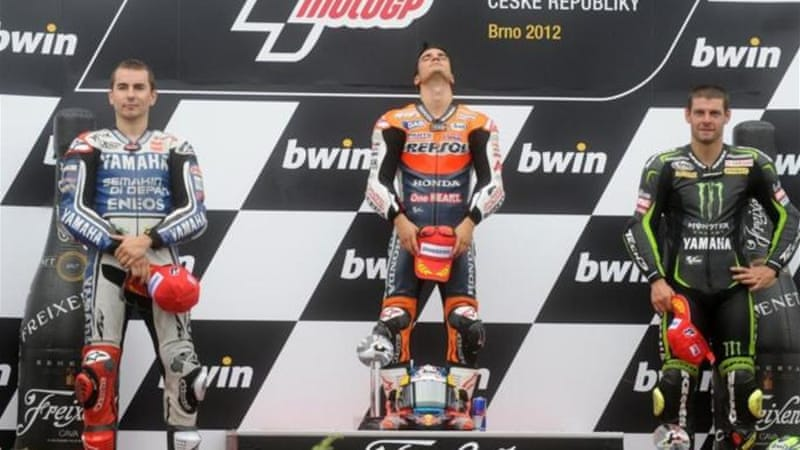 Honda rider Dani Pedrosa finished ahead of compatriot Jorge Lorenzo and Britain's Cal Crutchlow [AFP]