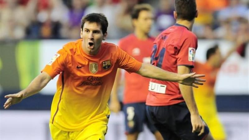 Despite Barcelona coach Tito Vilanova being sent off Messi led a revival against Osasuna [EPA]
