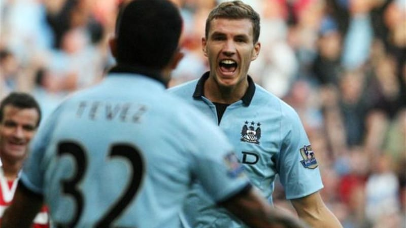 Edin Dzeko and Carlos Tevez were a force to be reckoned with up front for City [EPA]