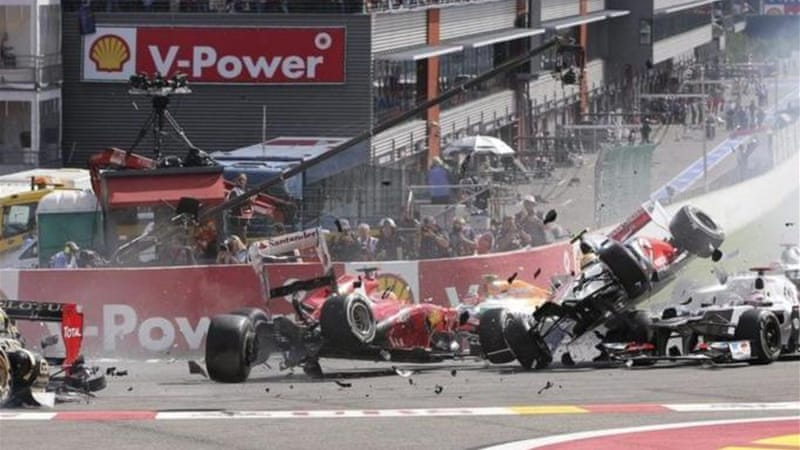 Mark Webber says starts like this can be avoided as overtaking has become easier in the sport [EPA]