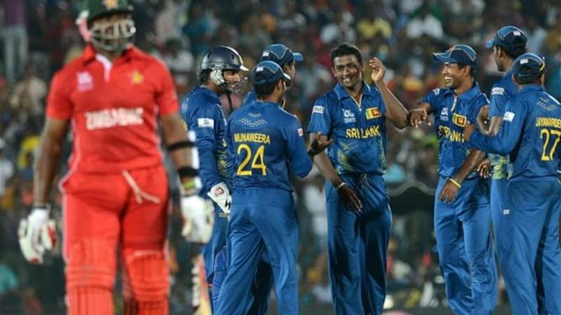 Mendis (C) helped Sri Lanka thrash Zimbabwe in opening game of World T20 tournament [AFP]