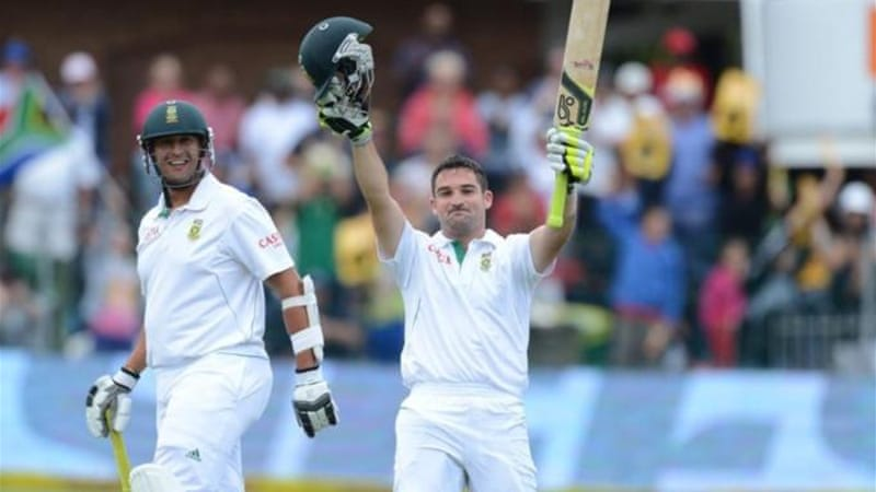 There were three South African centurions including Dean Elgar (pictured) whose hundred delayed declaration [GETTY]