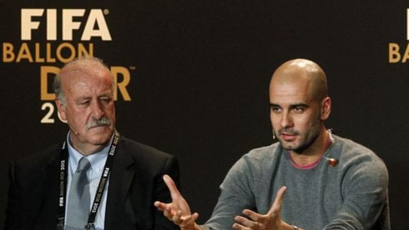 Former Barca coach Guardiola (R) has decided he is ready to take charge of German team after a year's rest [Reuters]