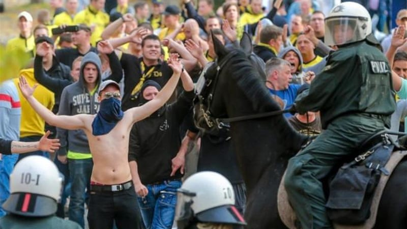 Tighter security measures were brought in after violence during match between Borussia Dortmund and Schalke 04 [EPA]