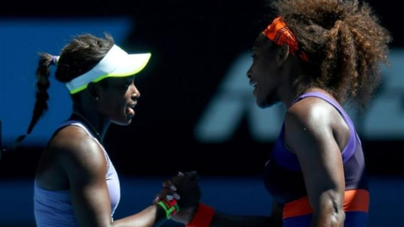 Williams (R) congratulates fellow American Stephens (L) after biggest upset of the tournament [GETTY]