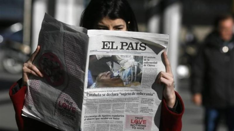 Spanish flagship newspaper El Pais - known to be hostile to Venezuelan President Hugo Chavez - retracted its online and print editions after publishing on its front page a fake photo of Chavez using a breathing tube [Reuters]