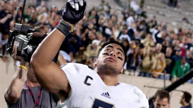 Heisman trophy finalist Manti Te'o was centre stage of a very public episode of online identity theft [AP]