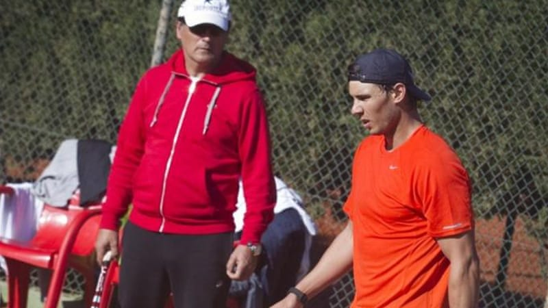 Nadal (R) and his uncle and coach Toni Nadal prepare for upcoming event in Sao Paulo [AFP]