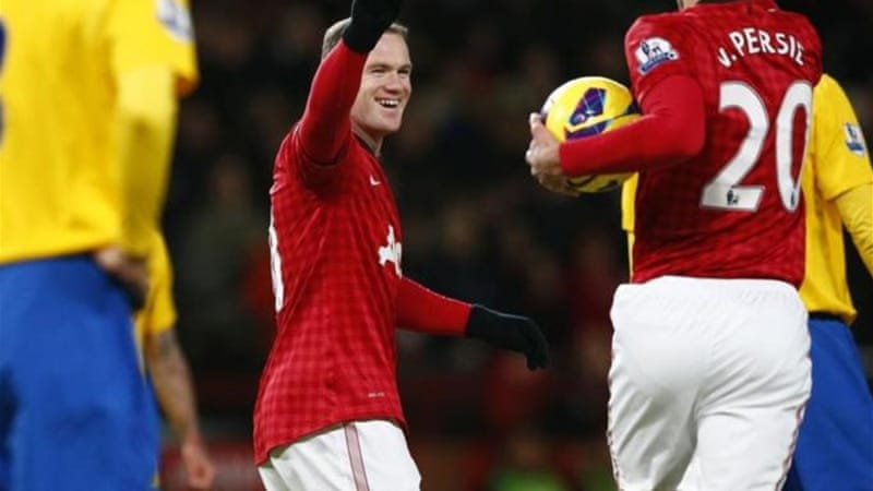 Rooney celebrates scoring his second goal against Southampton as United continue great vein of form [Reuters]