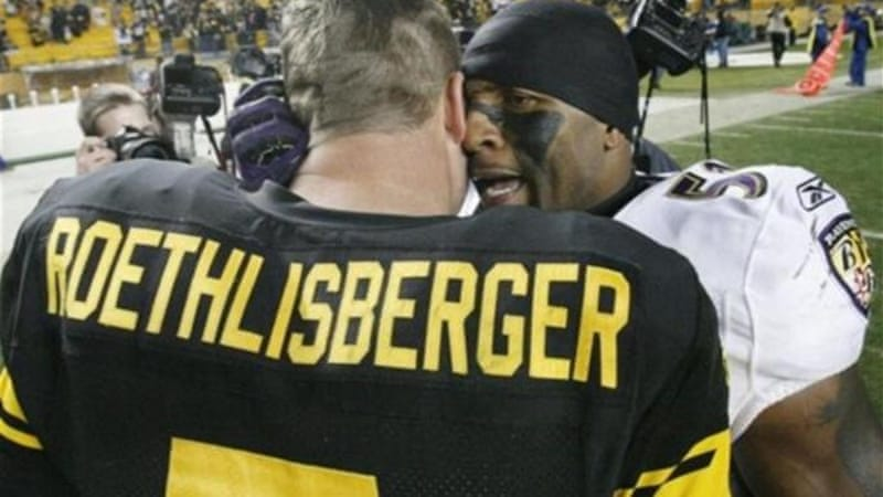 Former Ravens linebacker Ray Lewis has a word with Steelers quarterback Ben Roethlisberger at Heinz Field [AP]