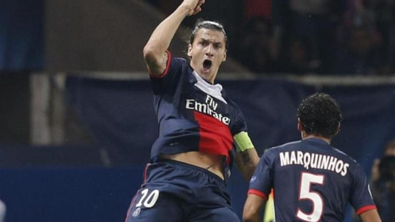 Zlatan Ibrahimovic (L) has scored nine goals in 15 appearances for PSG this season [AP]