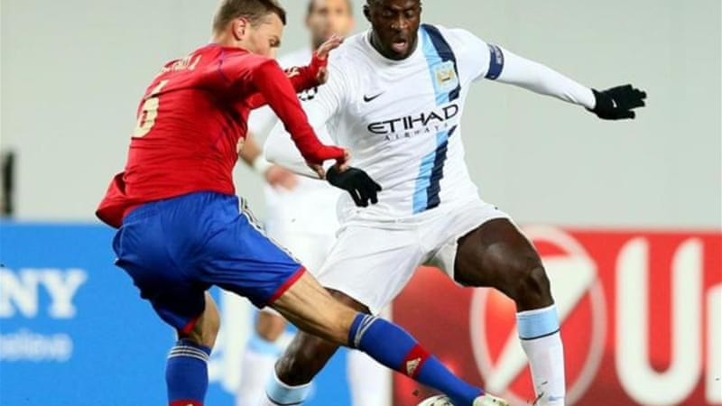 Manchester City midfielder Yaya Toure (R) said he was racially abused by a section of CSKA Moscow fans  [EPA]
