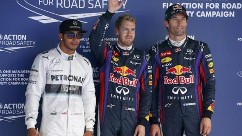 Lewis Hamilton (L) will be sandwiched between the Red Bulls of Vettel (C) and Webber (R) on Sunday [Reuters]