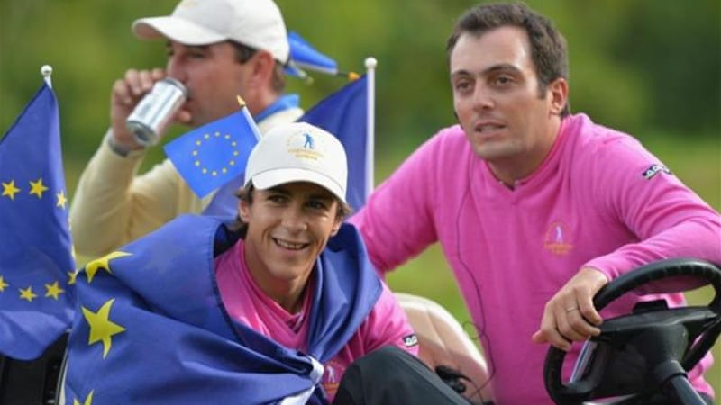 France's Francesco Molinari (R) had the glory of sinking winning put for Team Europe on home-soil [GALLO/GETTY]