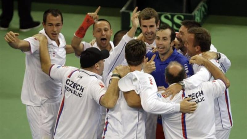 Stepanek, in blue, is at the centre of the celebrations as the Czech Republic win in Serbia [AP]