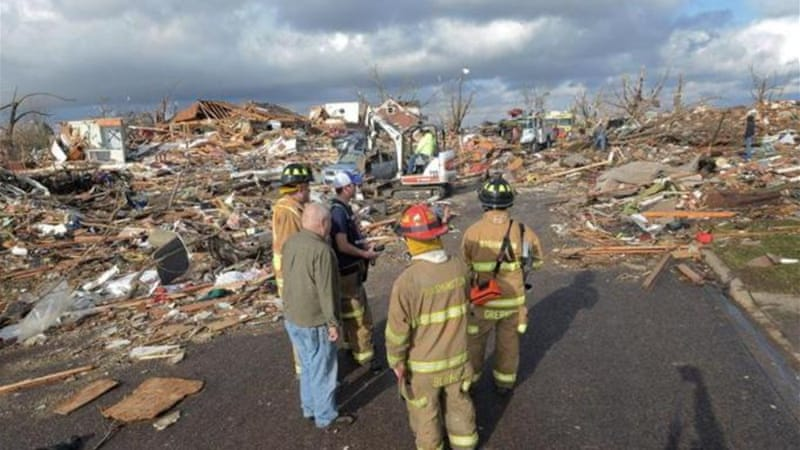 The town of Washington, Illinois, was hit hard by the tornadoes [AP]
