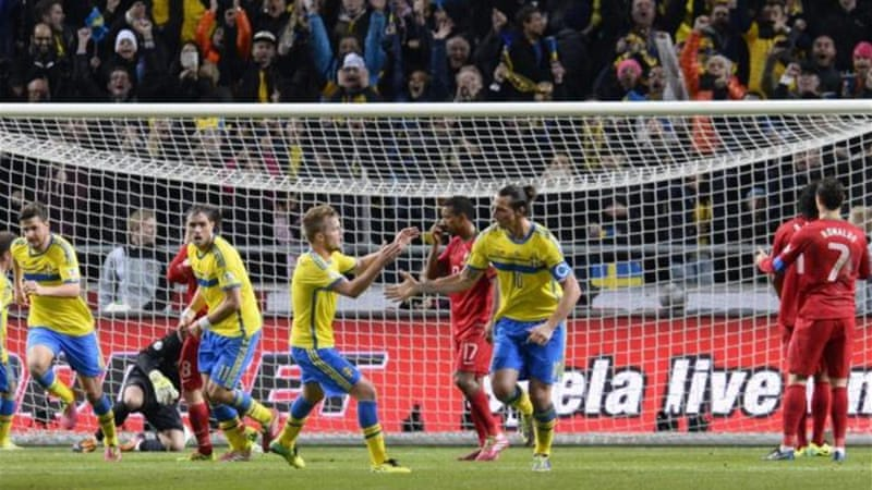 Ibrahimovic scored twice for Sweden against Portugal but was outdone by Ronaldo [AFP]