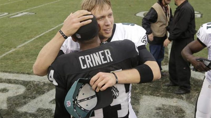 Philadelphia Eagles quarterback Nick Foles threw seven touchdown passes against Oakland [AP]