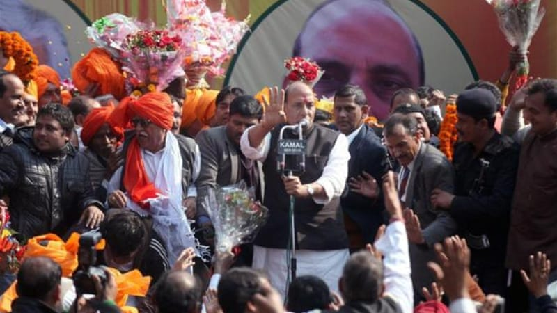 Rajnath Singh is seemingly seeking to consolidate the conservative vote base of the BJP [EPA]