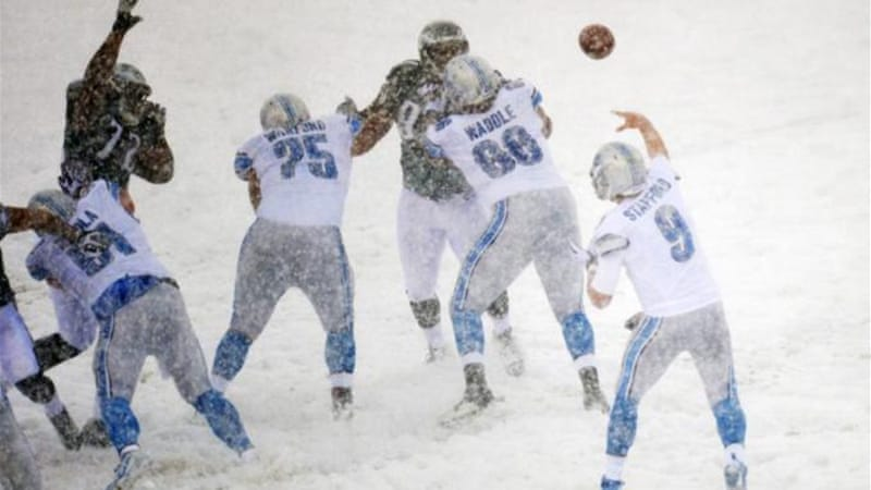 The heaviest snow was in Philadelphia where the Eagles beat the Detroit Lions 34-20 [GALLO/GETTY]
