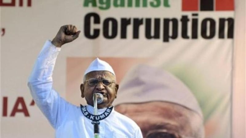 Anna Hazare triggered a nationwide anti-corruption campaign with his fast in 2011 [AP Photos]