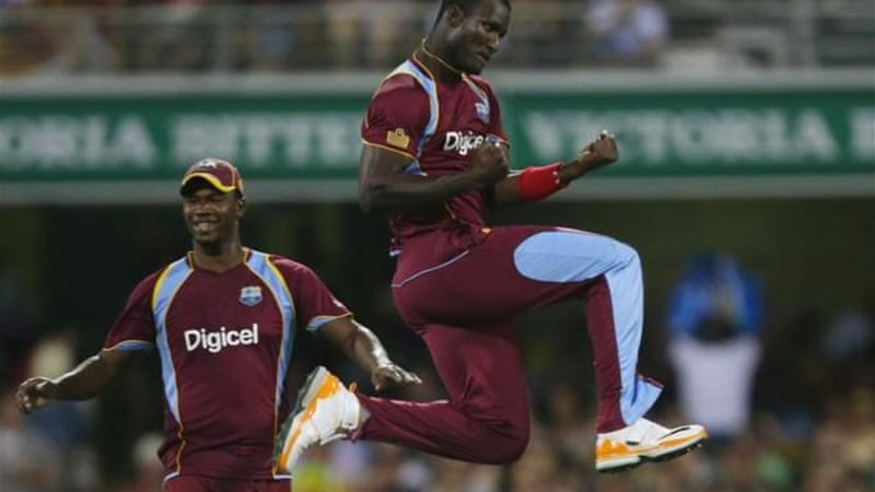 West Indies captain Darren Sammy (R) comes away with minor victory after frustrating tour [GETTY]