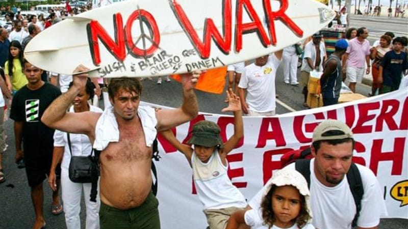 As many as 10 million people turned out across the globe February 15, 2003 in one of the world's biggest displays of anti-war sentiment against US threats to invade Iraq [AFP]